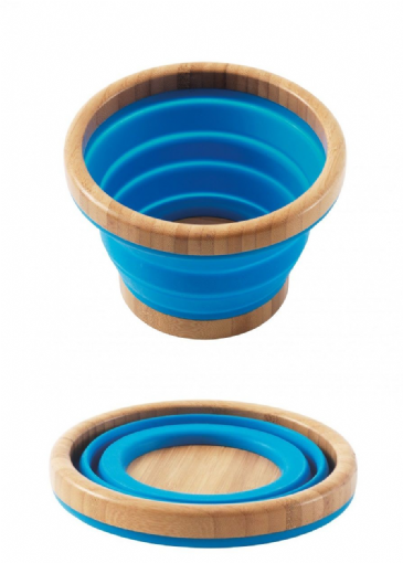 Outwell Collaps Collapsible Bamboo Blue Bowl - M & L